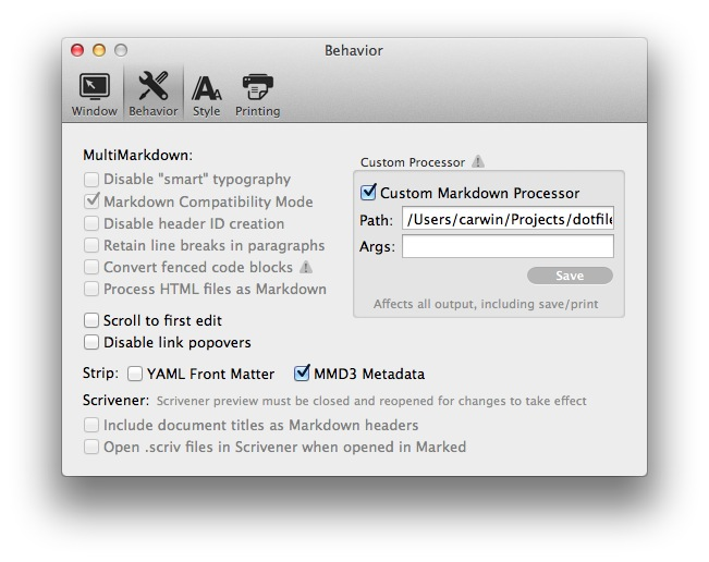 Configuring Marked With GitHub Flavored Markdown(ish)